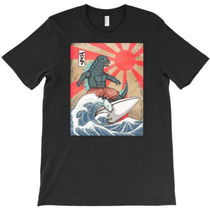 Surfing Kaiju Godzilla T-shirt Designed By Kakashop