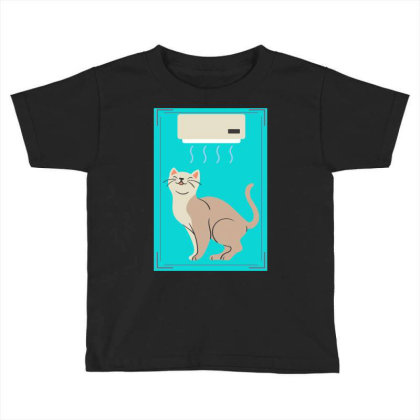 A Cat In Air Conditioner Art. Toddler T-shirt Designed By American Choice
