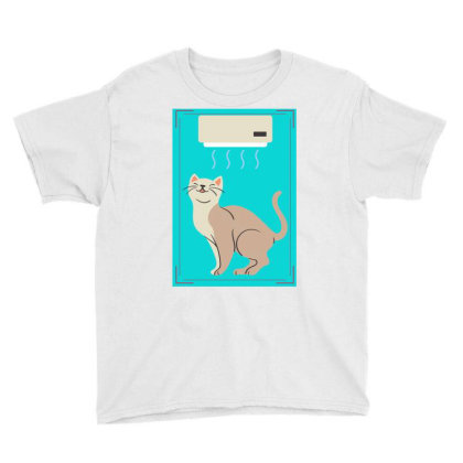 A Cat In Air Conditioner Art. Youth Tee Designed By American Choice