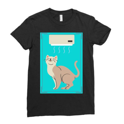 A Cat In Air Conditioner Art. Ladies Fitted T-shirt Designed By American Choice