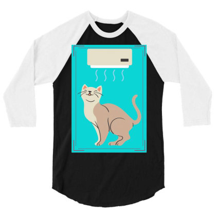 A Cat In Air Conditioner Art. 3/4 Sleeve Shirt Designed By American Choice