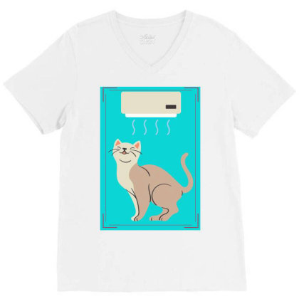 A Cat In Air Conditioner Art. V-neck Tee Designed By American Choice