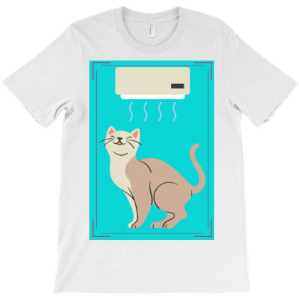 A Cat In Air Conditioner Art. T-shirt Designed By American Choice