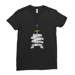 What do we say to the god of Debt? Ladies Fitted T-Shirt | Artistshot