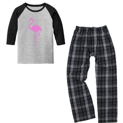 Pink Flamingo Youth 3/4 Sleeve Pajama Set Designed By Qudkin