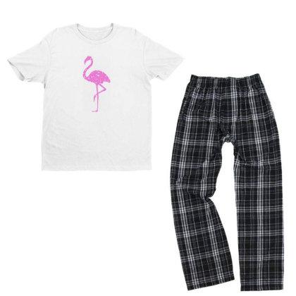 Pink Flamingo Youth T-shirt Pajama Set Designed By Qudkin