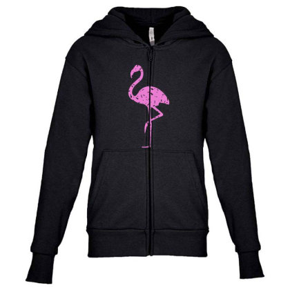 Pink Flamingo Youth Zipper Hoodie Designed By Qudkin