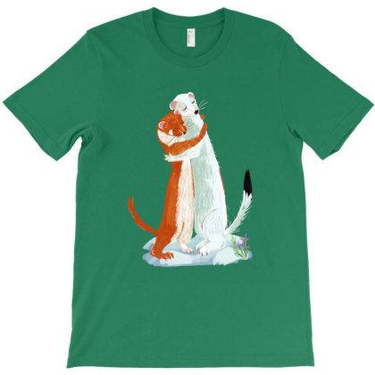 Weasel Hugs Tee T-shirt Designed By Belettelepink