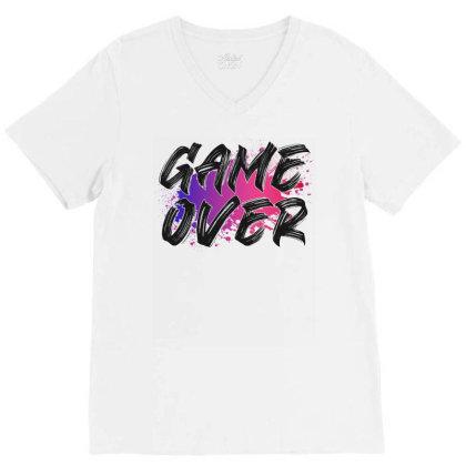 Game Over For Light V-neck Tee Designed By Sengul