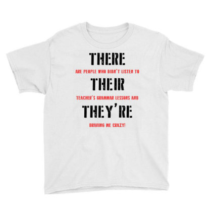 Funny Teacher Grammar Lesson | Black Youth Tee Designed By Lawrensia