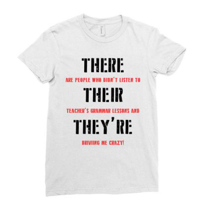 Funny Teacher Grammar Lesson | Black Ladies Fitted T-shirt Designed By Lawrensia