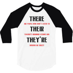 funny teacher grammar lesson | black 3/4 Sleeve Shirt | Artistshot