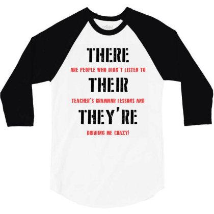 Funny Teacher Grammar Lesson | Black 3/4 Sleeve Shirt Designed By Lawrensia