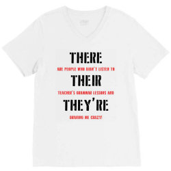 funny teacher grammar lesson | black V-Neck Tee | Artistshot
