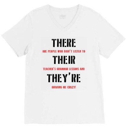 Funny Teacher Grammar Lesson | Black V-neck Tee Designed By Lawrensia