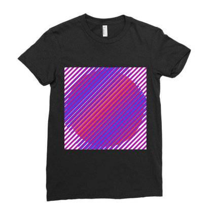 Gradient Colourful Lines Art Ladies Fitted T-shirt Designed By American Choice