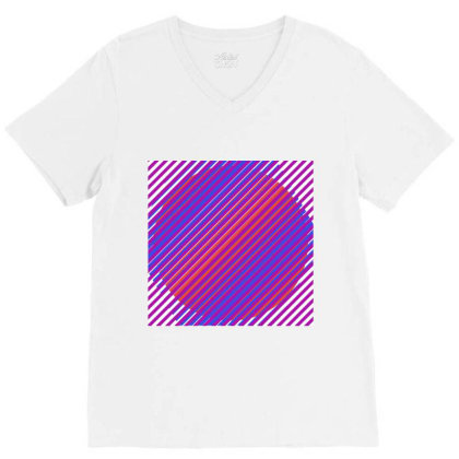 Gradient Colourful Lines Art V-neck Tee Designed By American Choice
