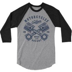motorcycle custom vintage biker 3/4 Sleeve Shirt | Artistshot