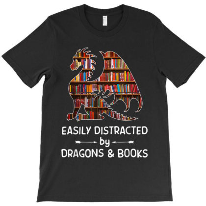 Easily Distracted By Dragon And Books Nerds T-shirt Designed By Amber Petty