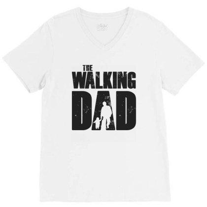The Walking Dad Black Font V-neck Tee Designed By Akuasegar
