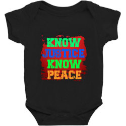 Know Justice Know Peace Baby Bodysuit Designed By Fashionfree