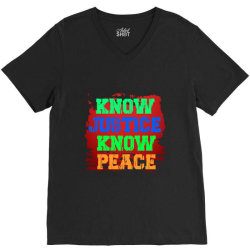 know justice know peace V-Neck Tee | Artistshot