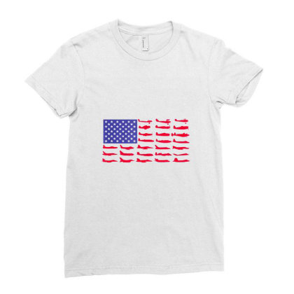 Fishing American Flag Ladies Fitted T-shirt Designed By Hoainv