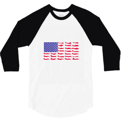 Fishing American Flag 3/4 Sleeve Shirt Designed By Hoainv