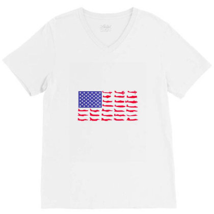 Fishing American Flag V-neck Tee Designed By Hoainv