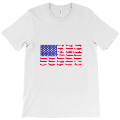 Fishing American Flag T-shirt Designed By Hoainv