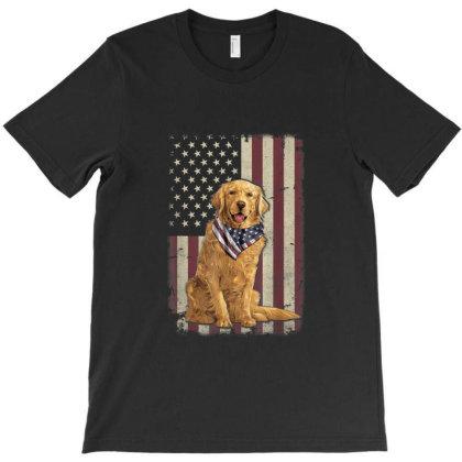 Golden Retriever American Flag Bandana 4th Of July T-shirt Designed By Hoainv