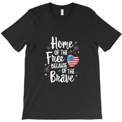 Home Of The Free Veterans 4th Of July Women Wife Patriotic T-shirt Designed By Hoainv