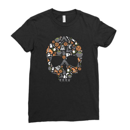 Skull Ladies Fitted T-shirt Designed By Januarart
