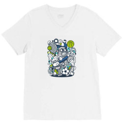 sports robot V-Neck Tee | Artistshot