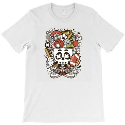 Sports Skull Head T-shirt Designed By Januarart