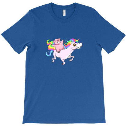 Cute Pig Riding On Unicorn Fun Animal Friend T-shirt Designed By Asatya