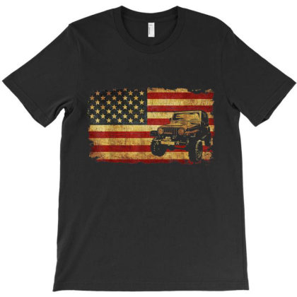 Vintage Us Flag Off Road Vehicle T-shirt Designed By Amber Petty