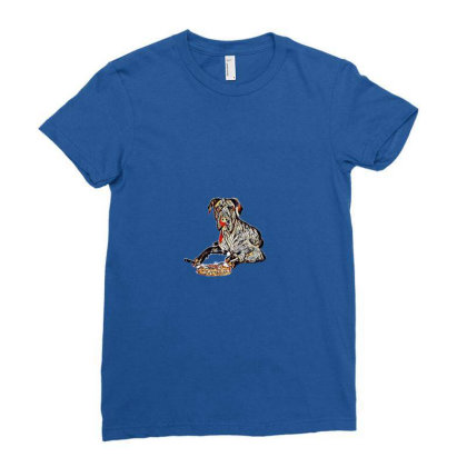 A Blue Great Dane Dog Laying Ladies Fitted T-shirt Designed By Kemnabi
