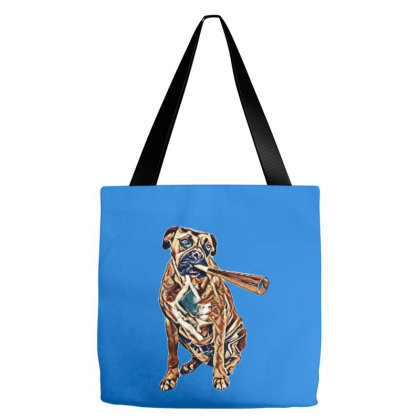 A Fawn Boxer Dog Wearing A Re Hat And Blowing On A Party Horn Tote Bags Designed By Kemnabi