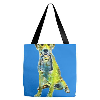 Labrador Retriever Dog Agains A White Backdrop Holding A Black Leash Tote Bags Designed By Kemnabi