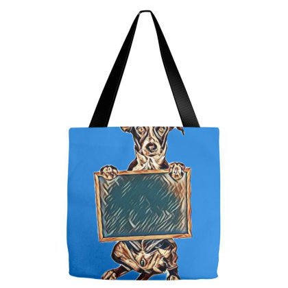 A Cute Crossbreed Puppy Holdig A Blank Chalk Board Sign Tote Bags Designed By Kemnabi
