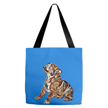 A Happy English Bulldog Looki Tote Bags Designed By Kemnabi