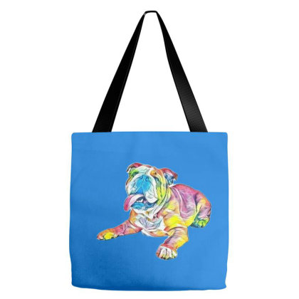 English Bulldog Laying Down A Tote Bags Designed By Kemnabi