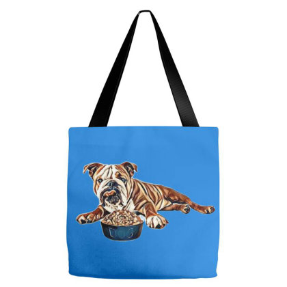 Bulldog Laying Against A Whit Tote Bags Designed By Kemnabi