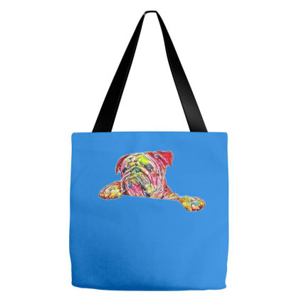 Bulldog Standing Up And Holdi Tote Bags Designed By Kemnabi
