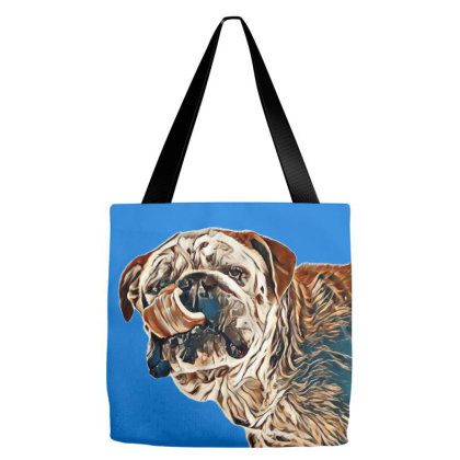 Bulldog Face Close-up With Hi Tote Bags Designed By Kemnabi