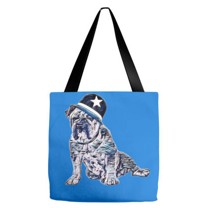 A Big English Bulldog With A Tote Bags Designed By Kemnabi