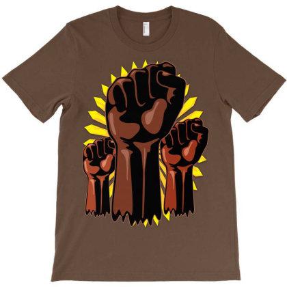 Black Power Raised Fists Symbols Slogan T-shirt Designed By Thechameleonart