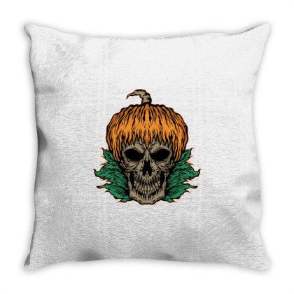 Pumpkin And Skull Throw Pillow Designed By Januarart