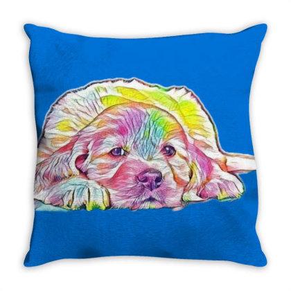 A Six Week Old Golden Retriev Throw Pillow Designed By Kemnabi